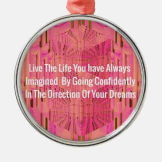 Abstract Rose Color Positive Encouragement Chic De Metal Ornament