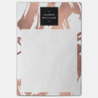 Abstract Rose Gold Brushstrokes on White Post-it® Notes