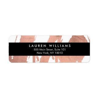 Abstract Rose Gold Brushstrokes on White Return Address Label