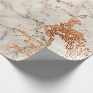Abstract Rose Gold Coral Blush Gray Marble Stone Wrapping Paper