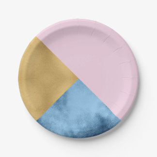 Abstract  Rose Gold Navy Glass Metallic Geometry Paper Plate