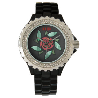 Abstract Rose - Red on Black (Monogrammed) Watch