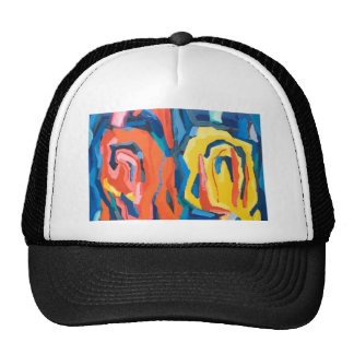 Abstract Rosebuds (abstract expressionism) Mesh Hats