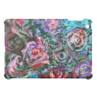 Abstract roses in red and turqoise cover for the iPad mini