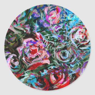 Abstract roses in red and turqoise - stickers