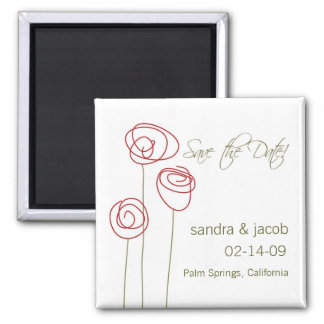 Abstract Roses- Personalize it! Square Magnet