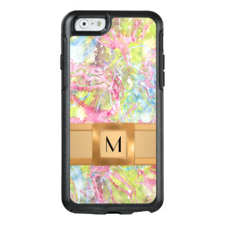 Abstract Roses, Pink and Blue Gold Band Monogram OtterBox iPhone 6/6s Case