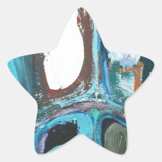 Abstract Round Bold City Blocks Star Sticker