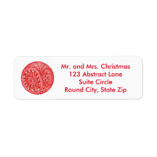 Abstract Round Christmas Ball Address Labels