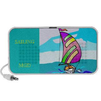 Abstract sail boat, aqua sky monogram speaker
