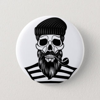 Abstract Sailor Skull Button