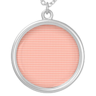 Abstract salmon pink stripes pattern round pendant necklace