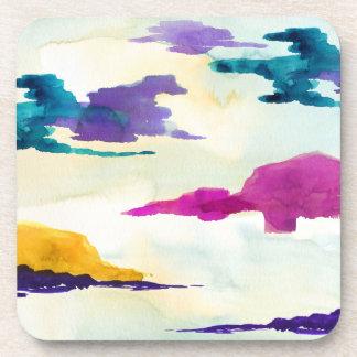 Abstract Scottish Loch Watercolour Coaster Set