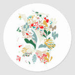 Abstract sea coral round stickers