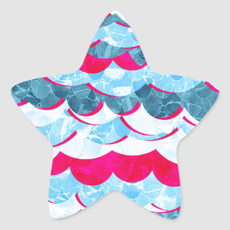 Abstract Sea Waves Design Star Sticker