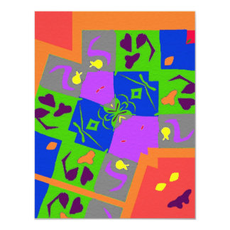 Abstract Shapes 11 Cm X 14 Cm Invitation Card