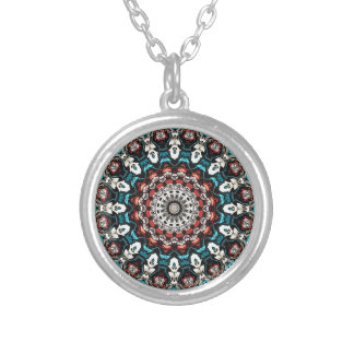 Abstract Shapes Mandala Silver Plated Necklace
