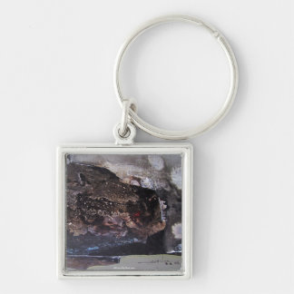 Abstract Shapes No.1 11.3 x 18 Silver-Colored Square Key Ring
