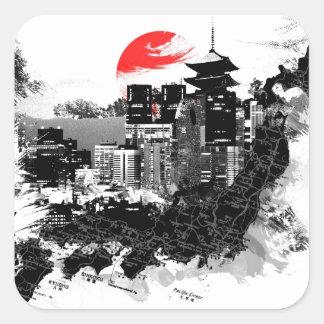 abstract shinjuku japan Tokyo Square Sticker