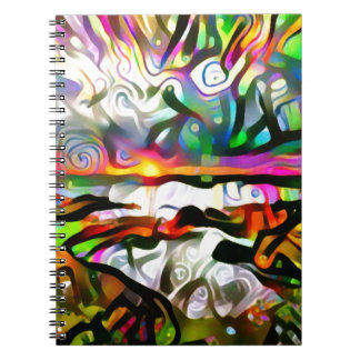 Abstract shore spiral notebook