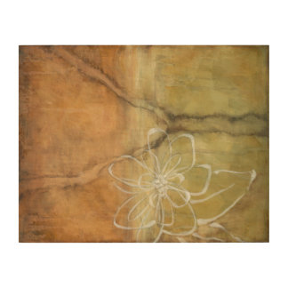 Abstract Silhouette Painting on Tan Background Wood Wall Art