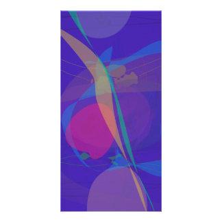 Abstract Silkscreen Emulation Dark Blue Picture Card