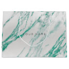 Abstract Silver Blush Marble Metallic Emerald Large Gift Bag