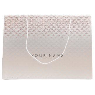Abstract Silver Blush Metallic Crystals Rose Large Gift Bag