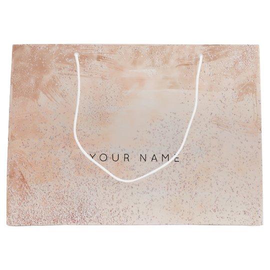 Abstract Silver Blush Metallic Painting Rose Large Gift Bag