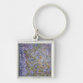 Abstract Silver-Colored Square Key Ring