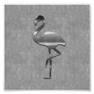 Abstract Silver Flamingo Collage Poster