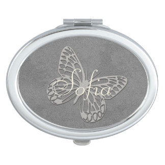 Abstract Silver Grey Butterfly Add Name Mirror Vanity Mirrors