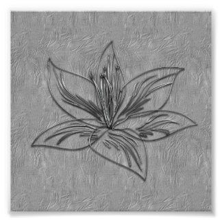 Abstract Silver Grey Lily Flower Collage Poster