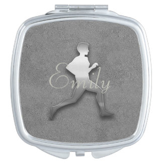 Abstract Silver Jogger Athletics  Add Name Mirror Makeup Mirror