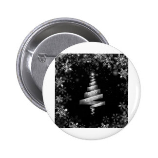 Abstract silver ribbon Christmas tree Pinback Buttons