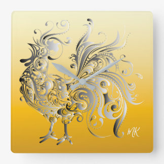 Abstract Silver Tribal Stylized Rooster Ombre Gold Square Wall Clock