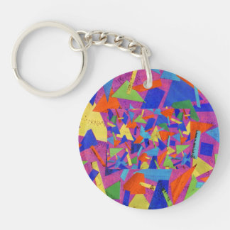 Abstract Single-Sided Round Acrylic Key Ring