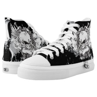 Abstract Skull Black and White High Tops