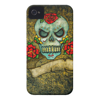 Abstract Skull & Crossbones iPhone 4, Barely There iPhone 4 Case-Mate Case