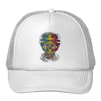 abstract skulls glasses tophat 3d trucker hats