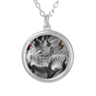 Abstract Small Dog Round Pendant Necklace