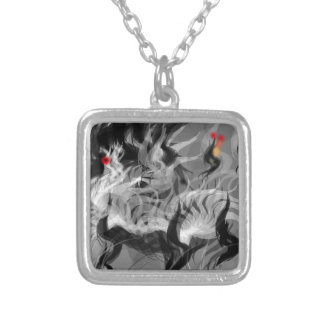 Abstract Small Dog Square Pendant Necklace