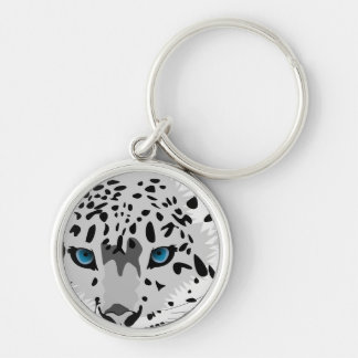 abstract snow leopard Silver-Colored round key ring