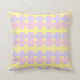 Abstract Soft Pink, Yellow and Purple Cushion