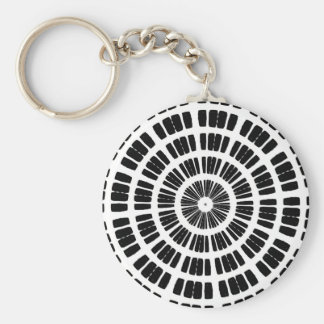 abstract spider web concentric pattern keychain