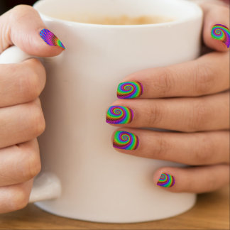 Abstract Spiral Fractal Minx Nail Art