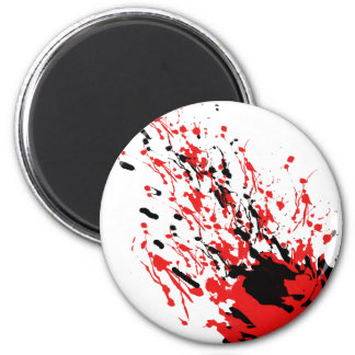 Abstract Splash and Drip Red and Black Magnet