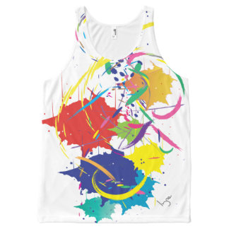 Abstract Splatter Paint Vector Digital Art Cool All-Over Print Singlet