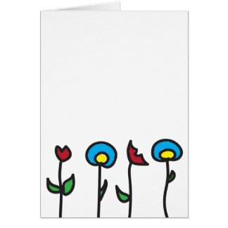 Abstract Spring Flowers Blank Greeting Card