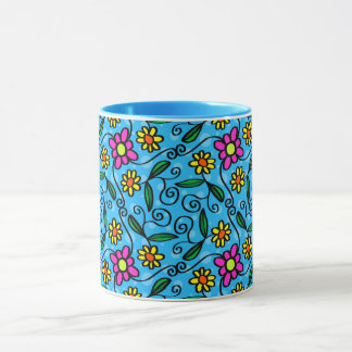Abstract Spring Flowers, Blue Style Mug
